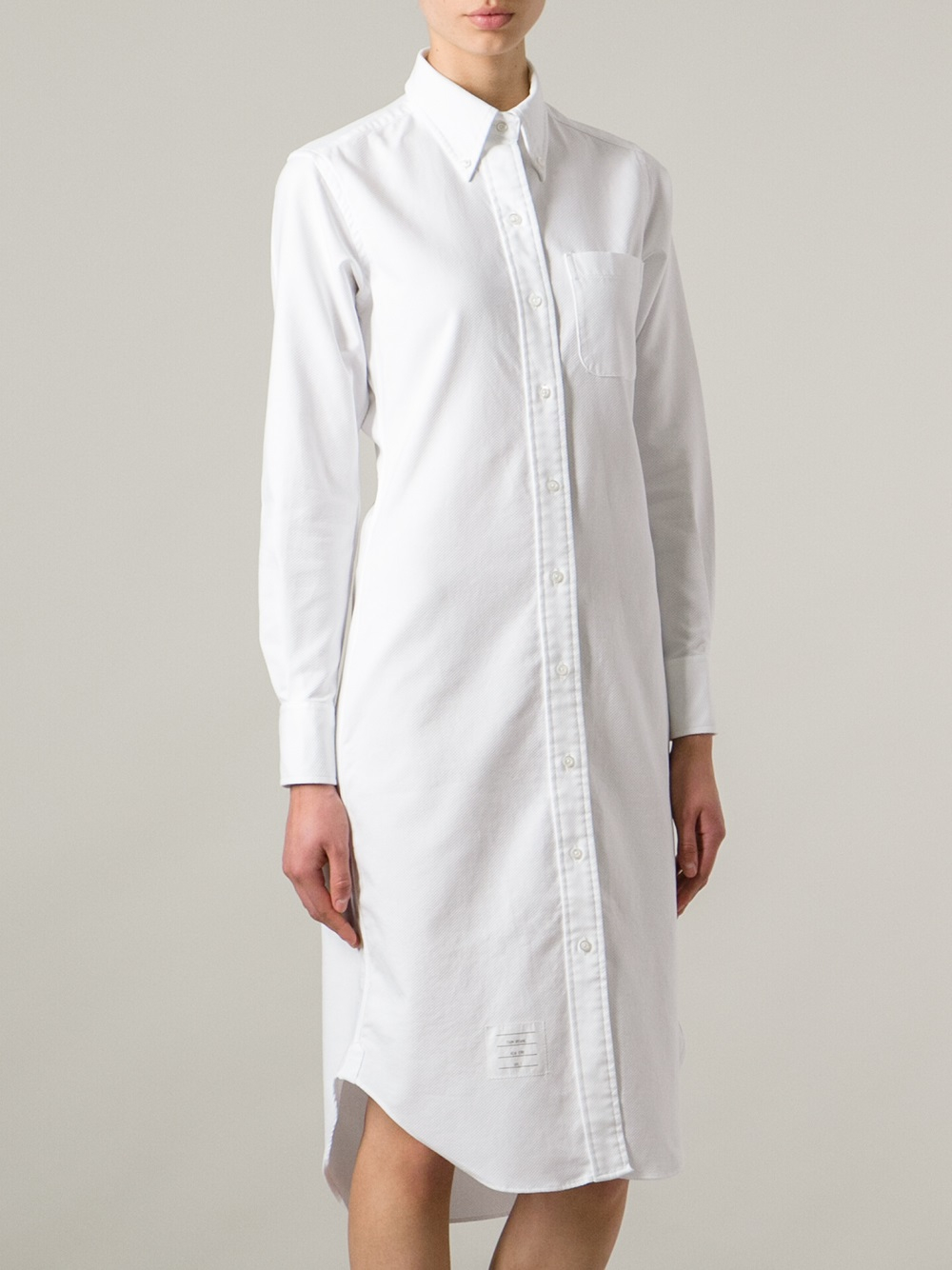 Lyst Thom Browne Knee Length Shirt Dress In White