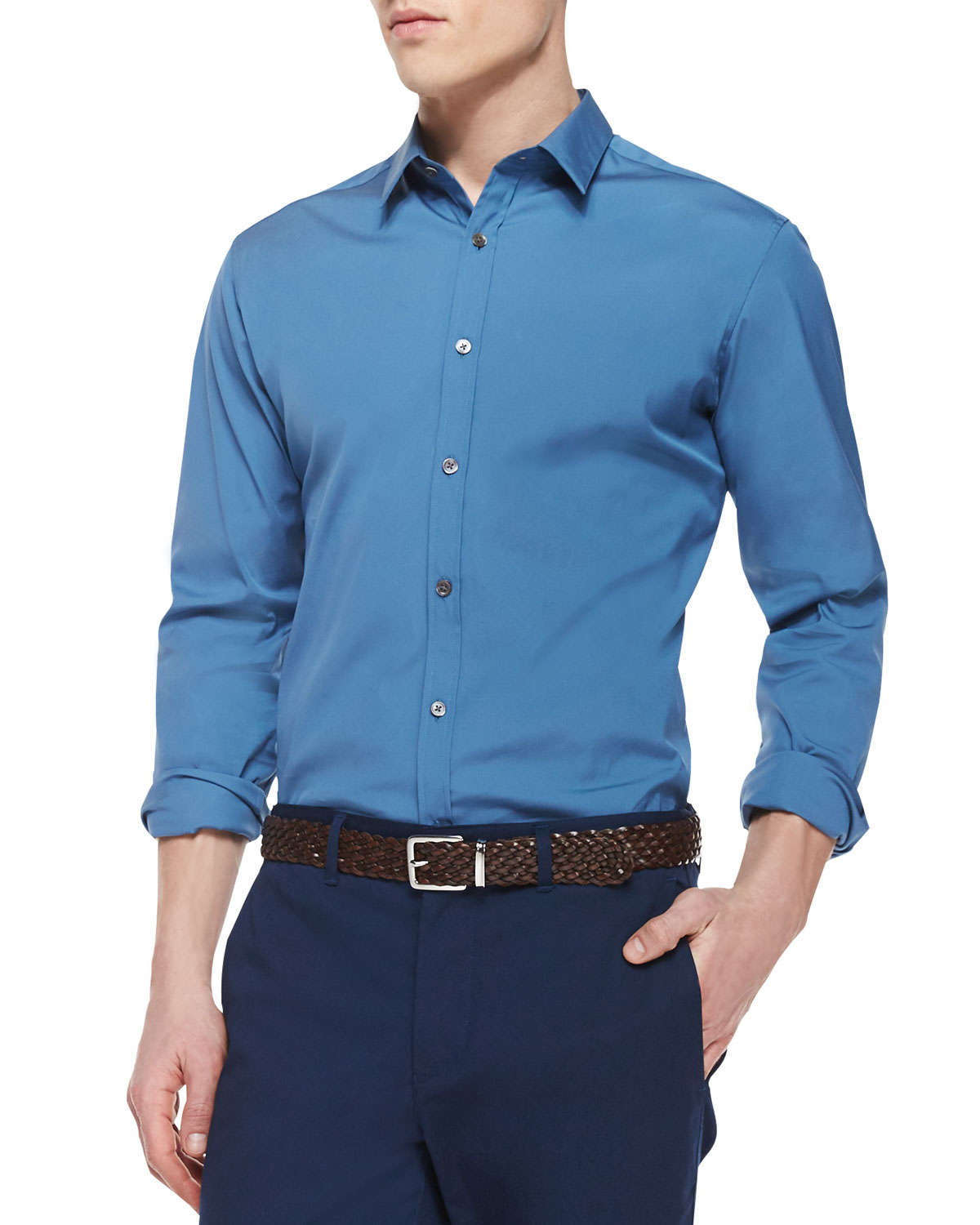 Theory Zack Ps Solid Long-sleeve Shirt in Blue for Men | Lyst