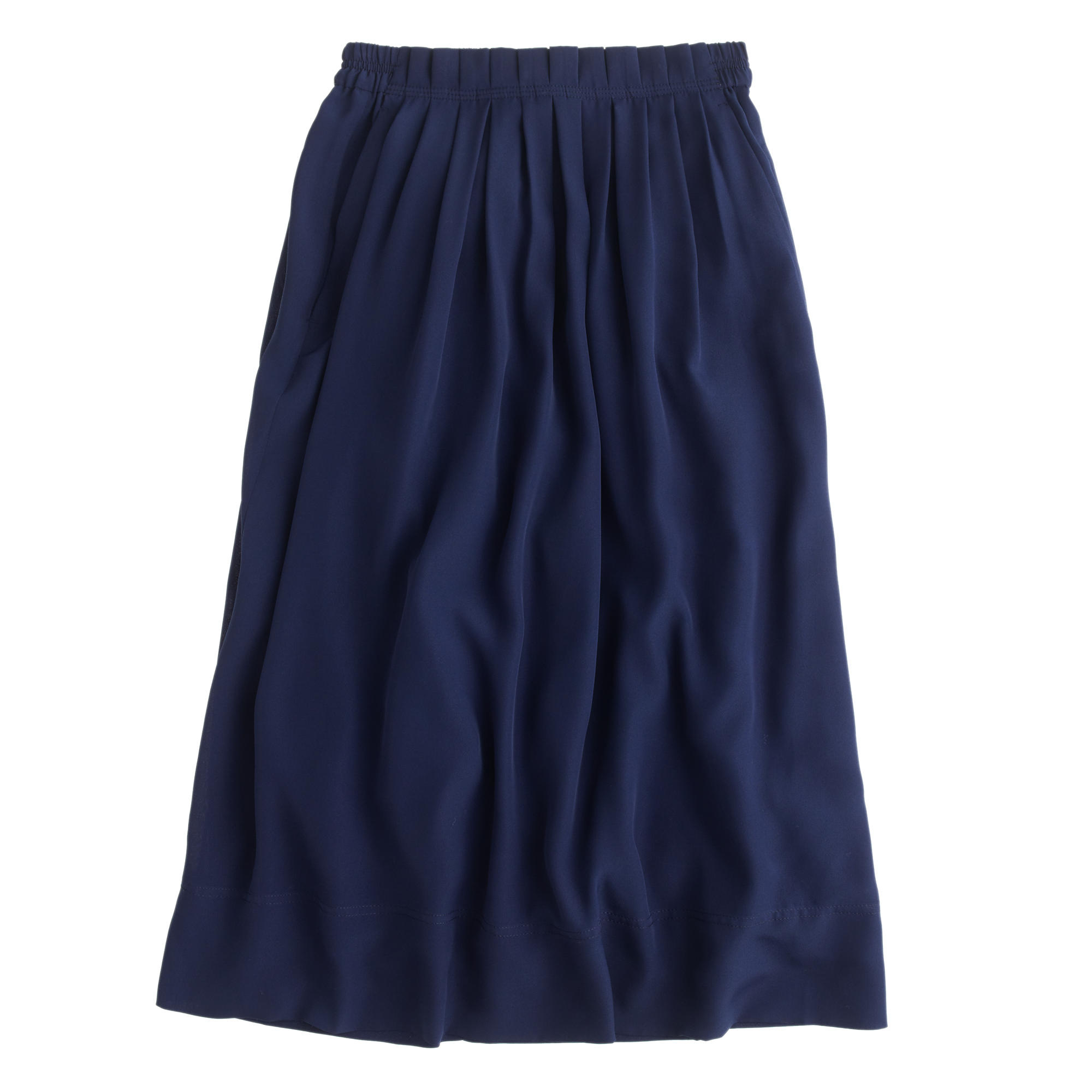 j crew pleated midi skirt in blue lyst