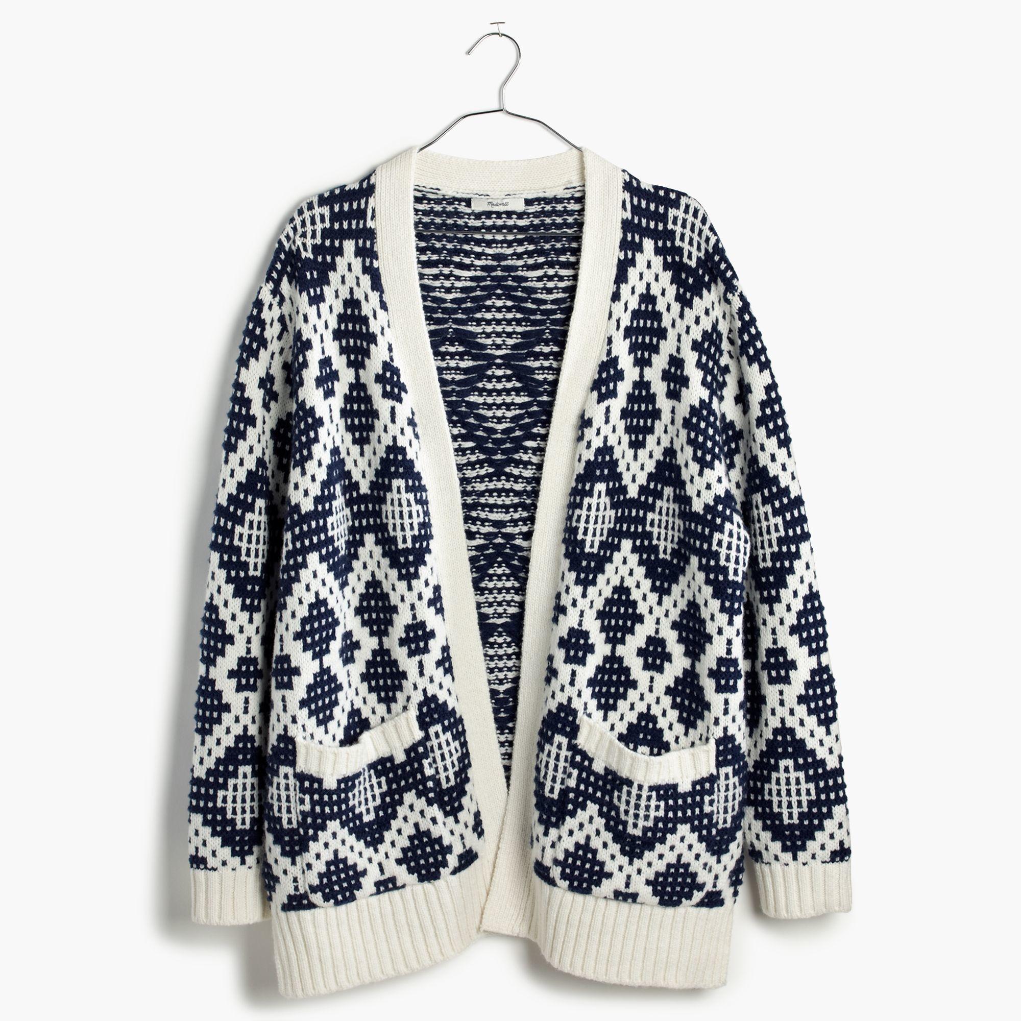 Madewell Contrast Fair Isle Cardigan Sweater in Blue | Lyst