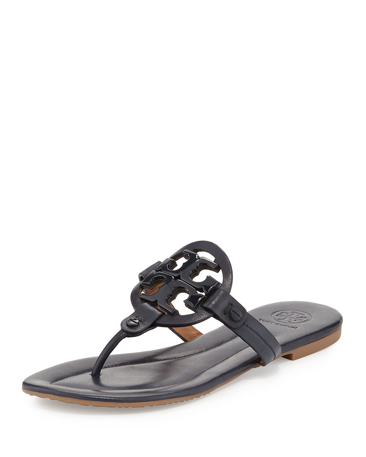 Tory Burch Brown Miller 2 Sandal Outlet Online. Tory Burch's chic Miller sandal is an open back style with a bold logo medallion. US sizing Runs true to size Presented in a Tory Burch box Patent leather upper. Leather lining.