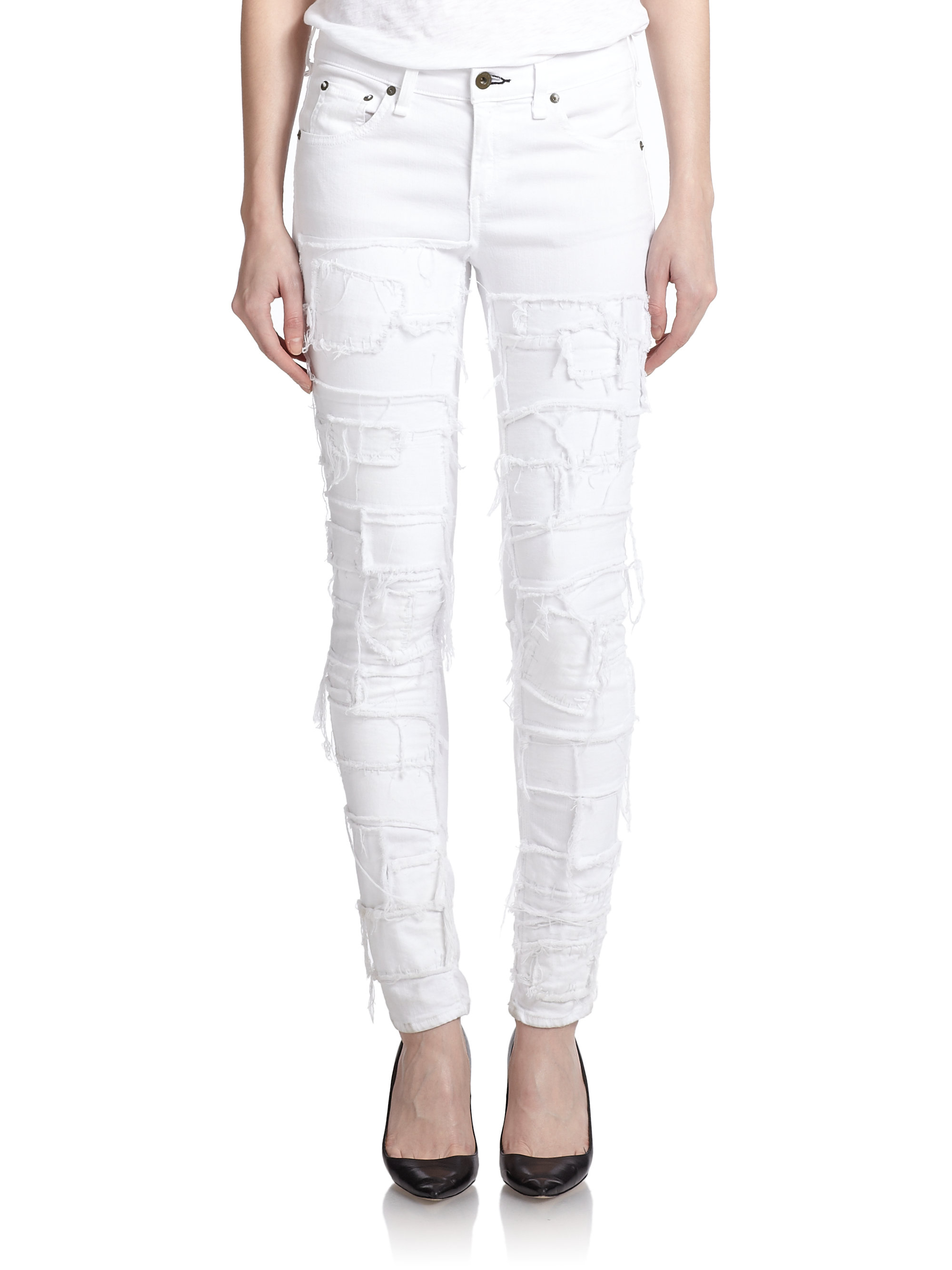 Lyst - Rag & Bone Distressed Skinny Jeans in White