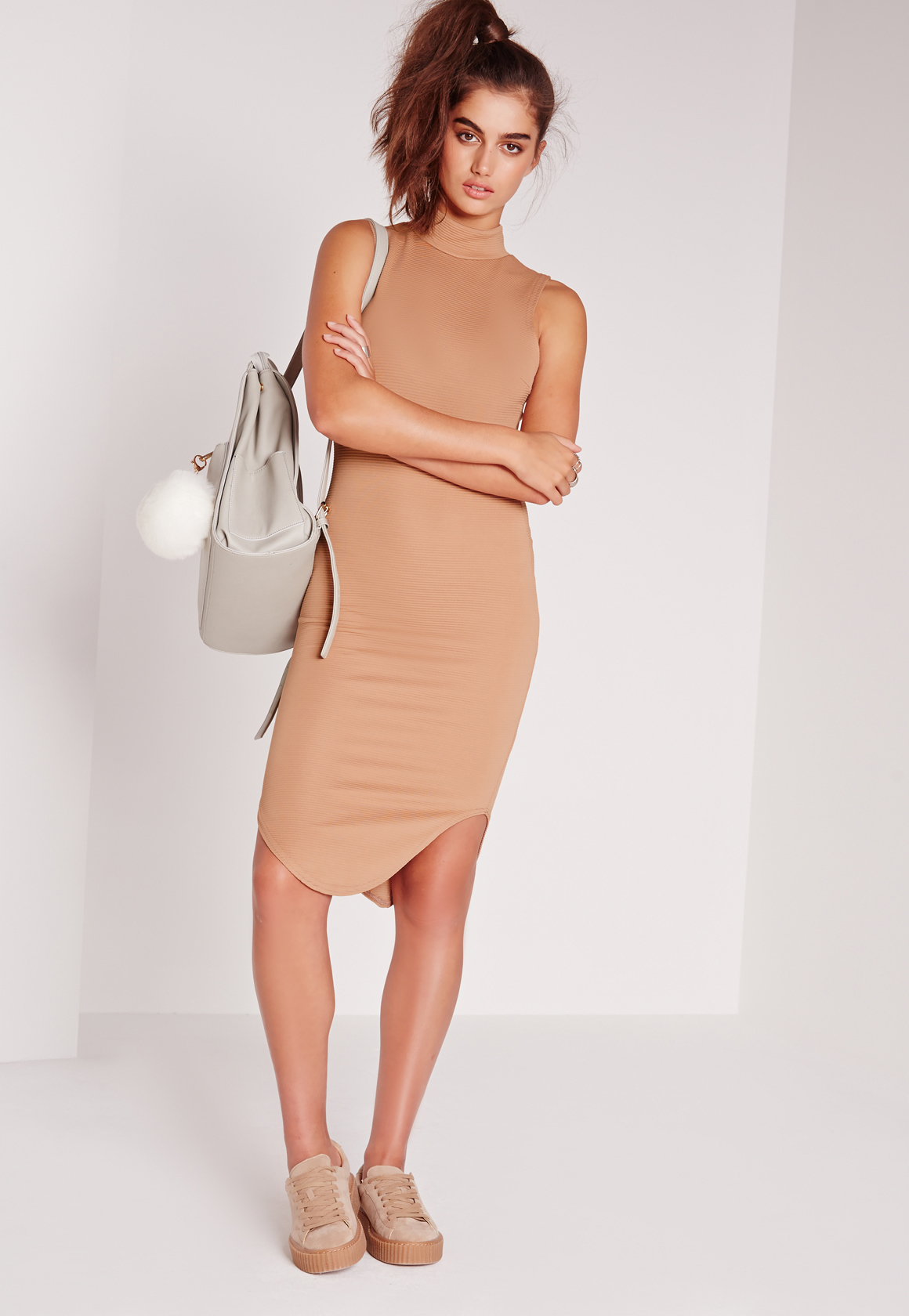 missguided high neck curve hem ribbed midi bodycon dress