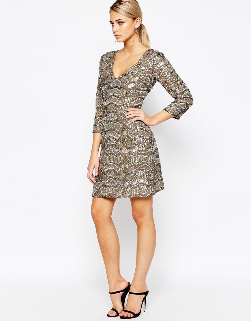 Oasis Asis Sequin Embellished Dress in Metallic | Lyst