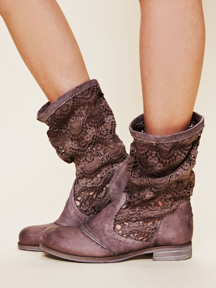 Free People Crochet Slouch Boot in Mauve (Brown)