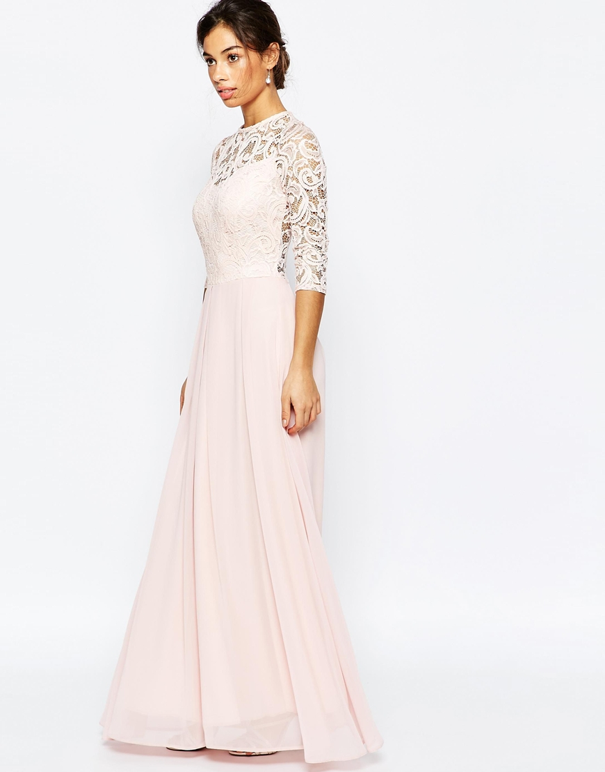 3c0cd80a537 Pink Lace Maxi Dress With Sleeves - Data Dynamic AG