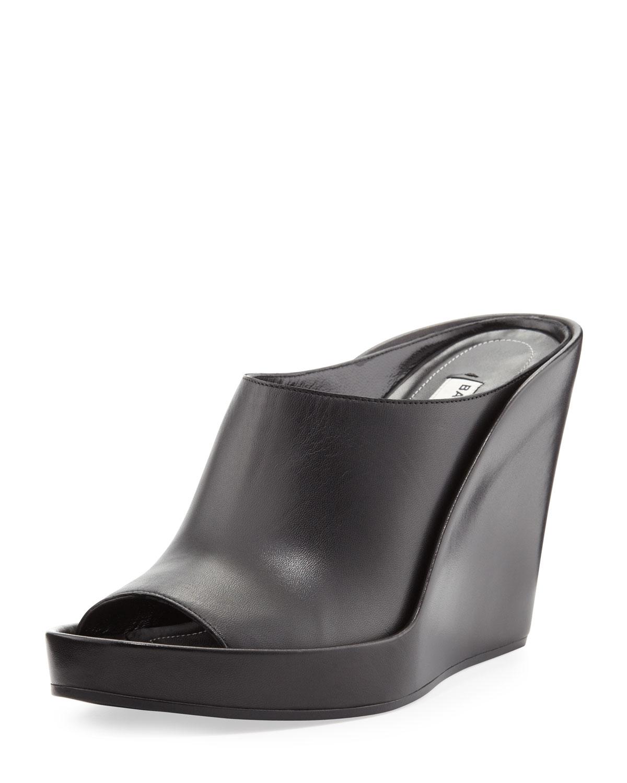 Lyst Balenciaga Pad Mule Leather Wedge Slide Black In Black