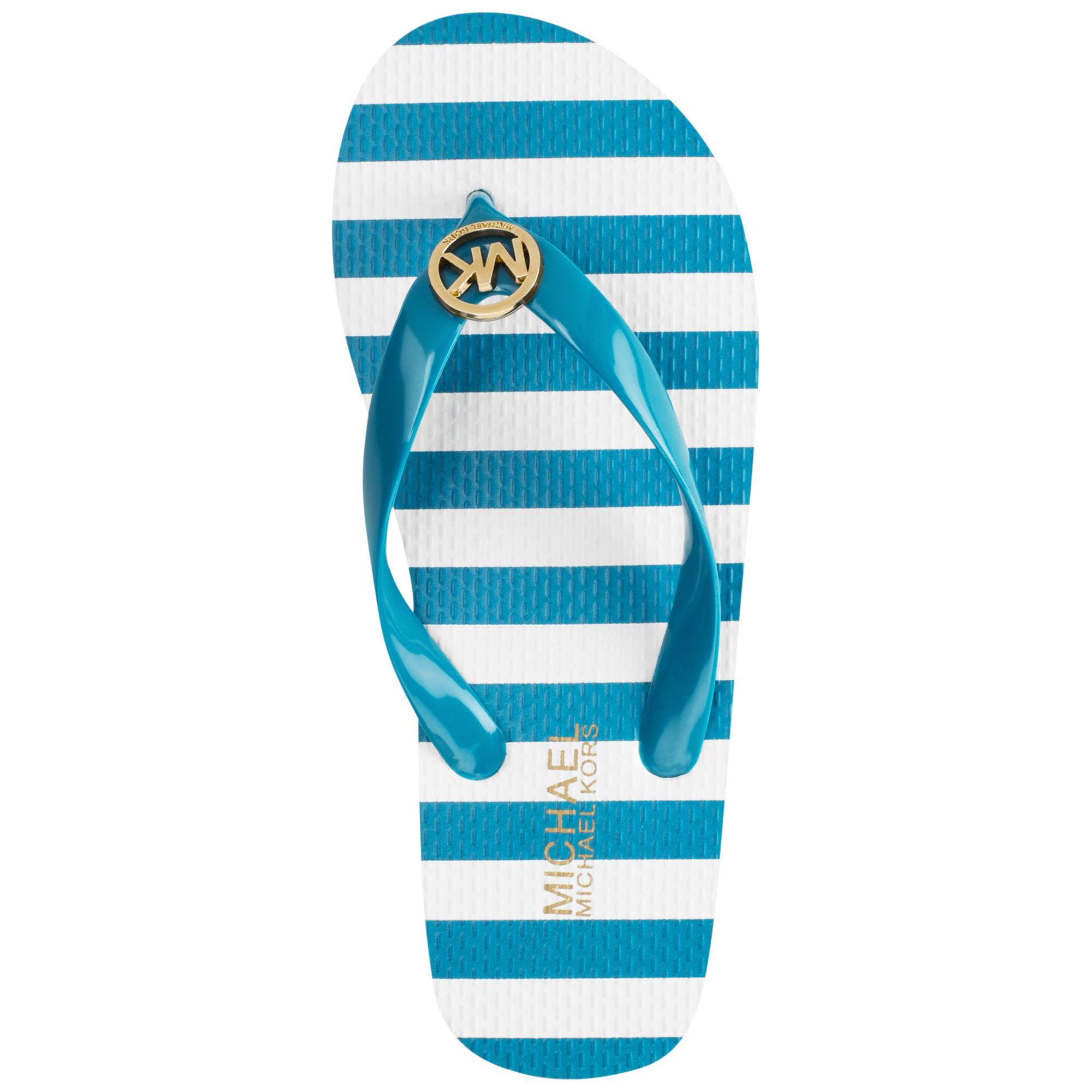 5a6316360888 Lyst - Michael Kors Michael Mk Flip Flops in Blue