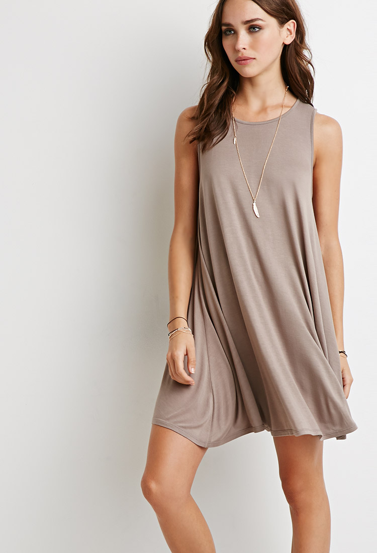 Forever 21 Heathered Trapeze Dress in Natural