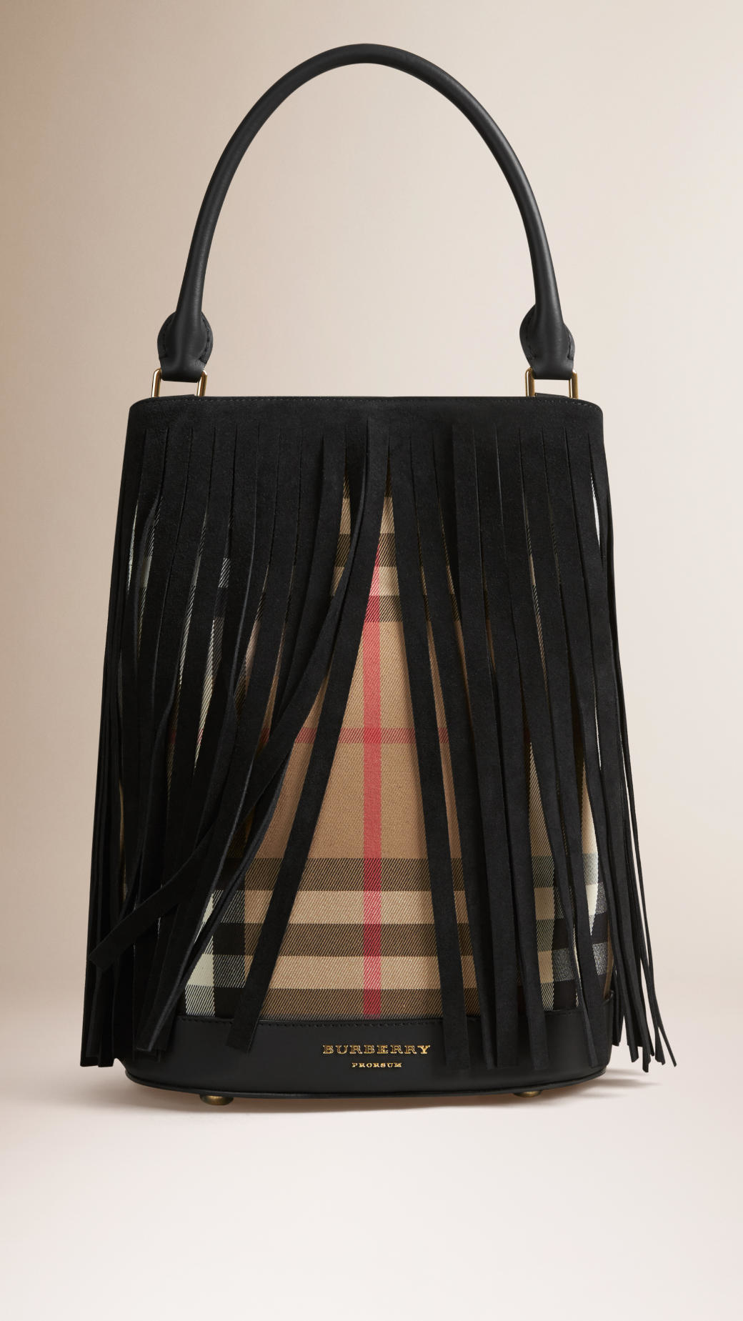Lyst - Burberry House-Check and Fringed Bucket Bag in Black