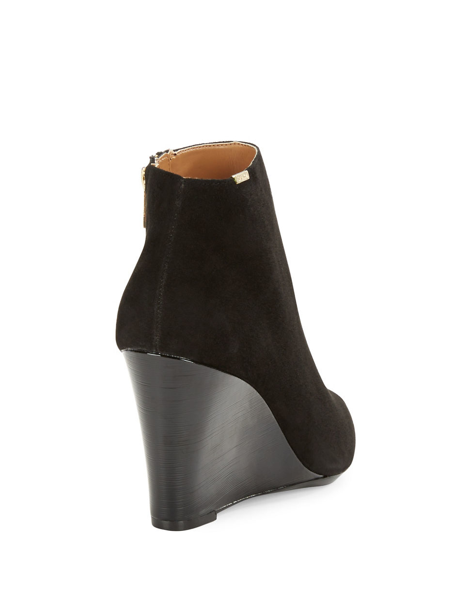 calvin klein charlaine suede ankle boots in black lyst