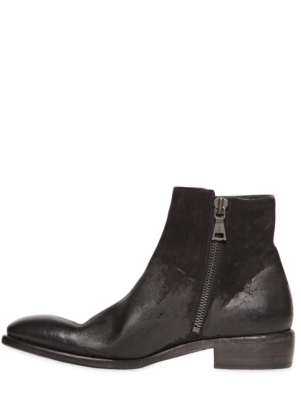 varvatos gradient effect waxed suede boots in black