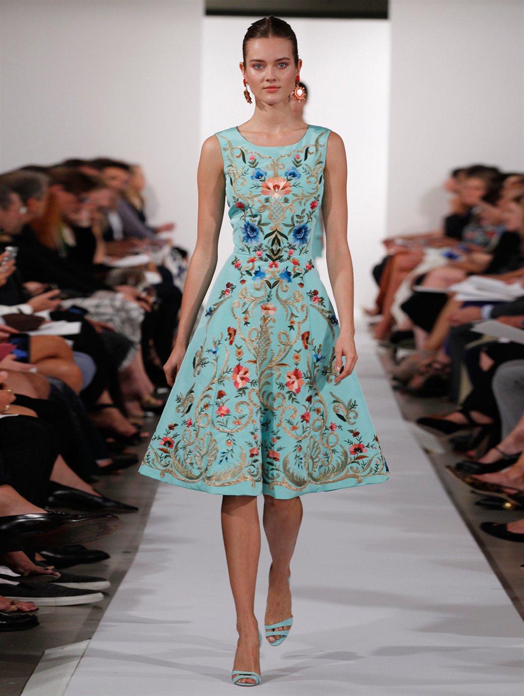 Lyst Oscar De La Renta Sleeveless Floral Embroidered