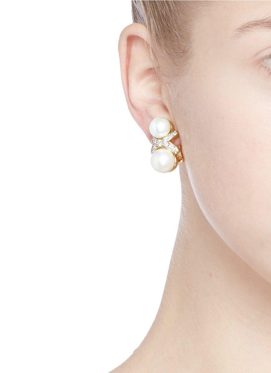 Lyst kenneth jay lane crystal pav faux pearl earrings in metallic gallery arubaitofo Gallery
