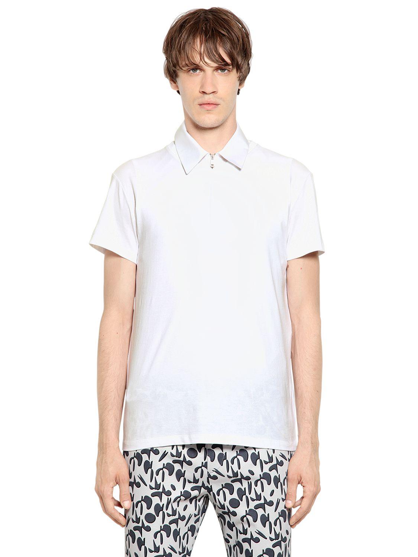Jil sander v neck cotton t shirt in white for men lyst for White v neck shirt mens