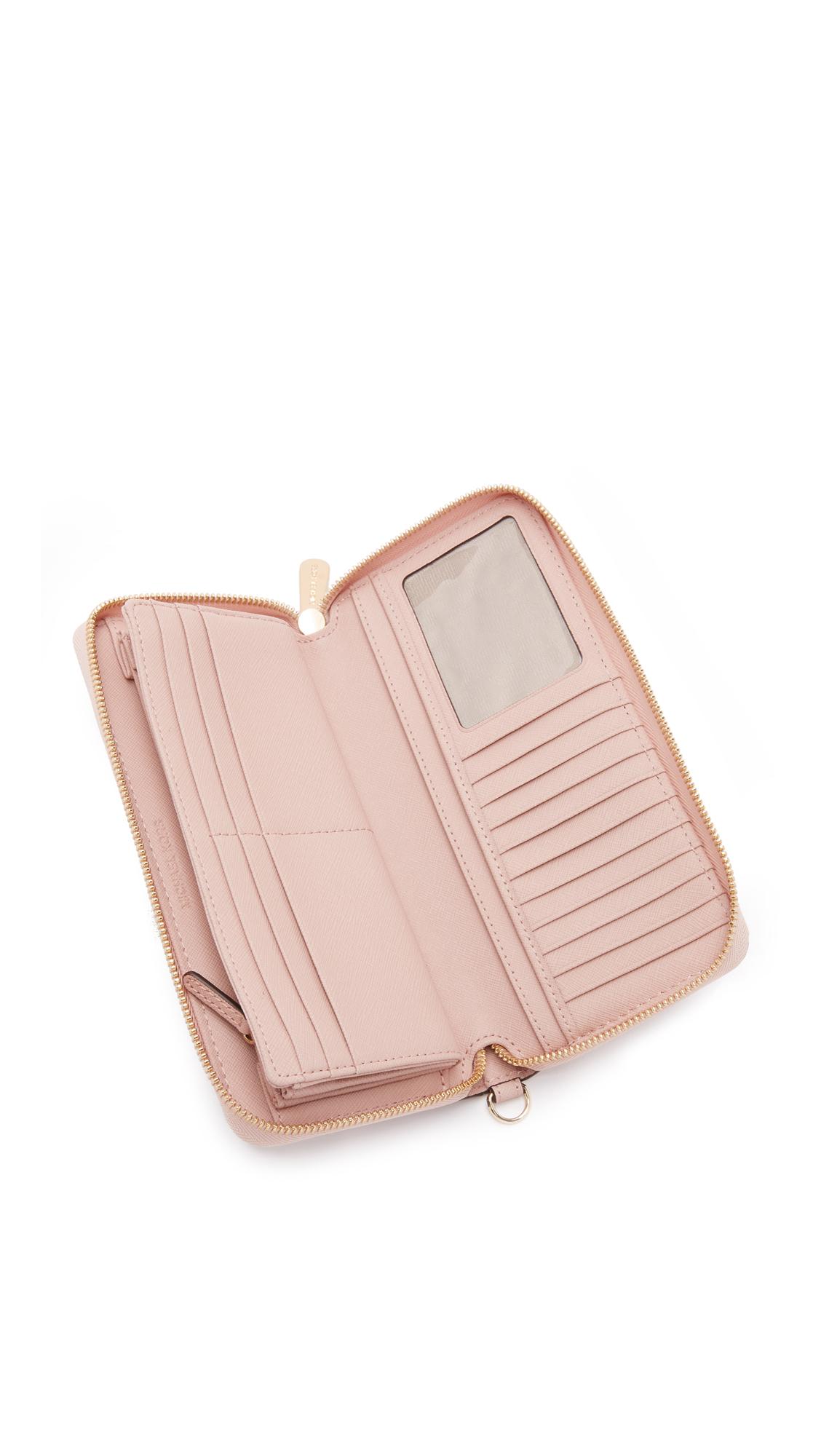 michael michael kors jet set large phone case wallet ballet in pink lyst. Black Bedroom Furniture Sets. Home Design Ideas