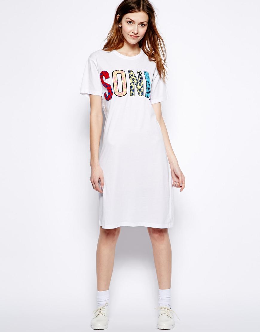 f689d32a1c Lyst - Sonia by Sonia Rykiel Tshirt Dress with Leopard Print Logo in ...
