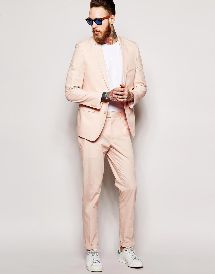Asos Slim Fit Suit Jacket In Poplin in Pink for Men | Lyst