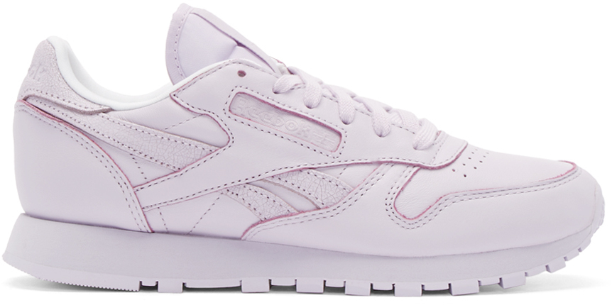 Reebok White Purple Leather Spirit Face Stockholm Edition Sneakers