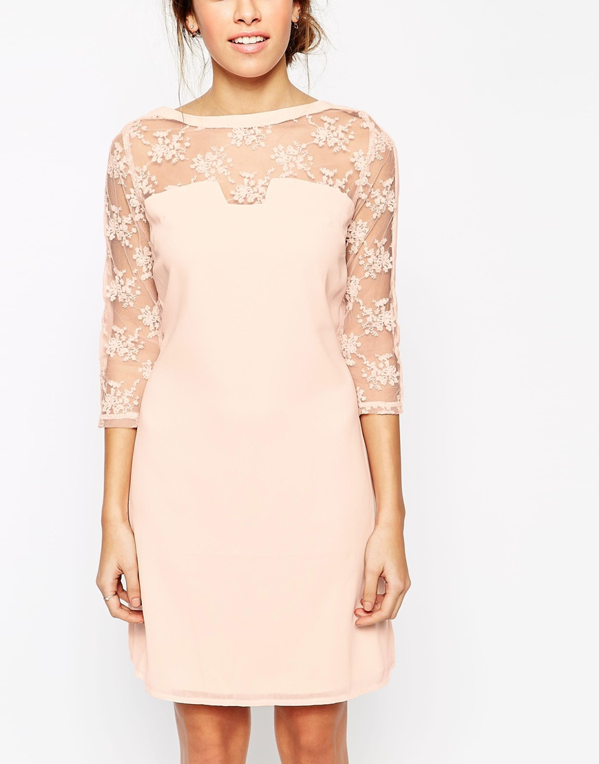 Little Mistress Shift Dress With Lace Sleeves In Pink Lyst