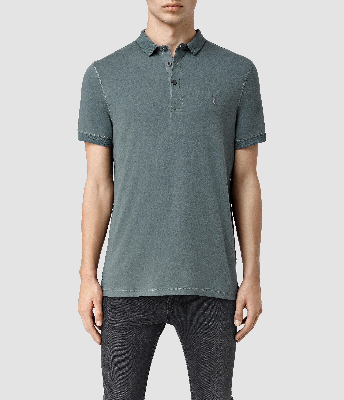 Lyst Allsaints Alter Polo Shirt In Blue For Men