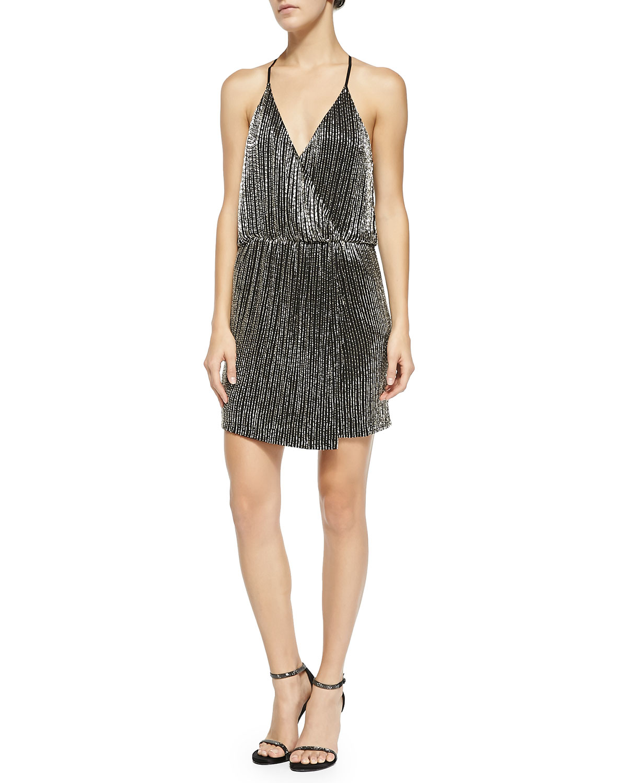 black beaded halter cocktail dress in black silver