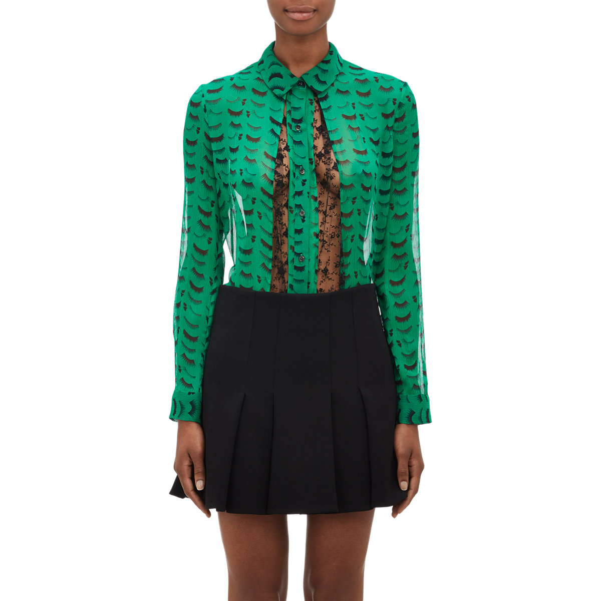 Lyst - Thakoon eyelash Georgette & Lace Blouse in Green