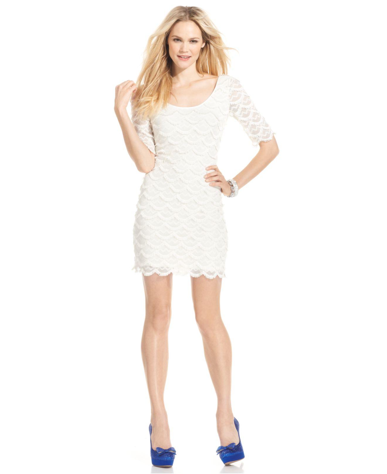 Short White Lace Dress Macys