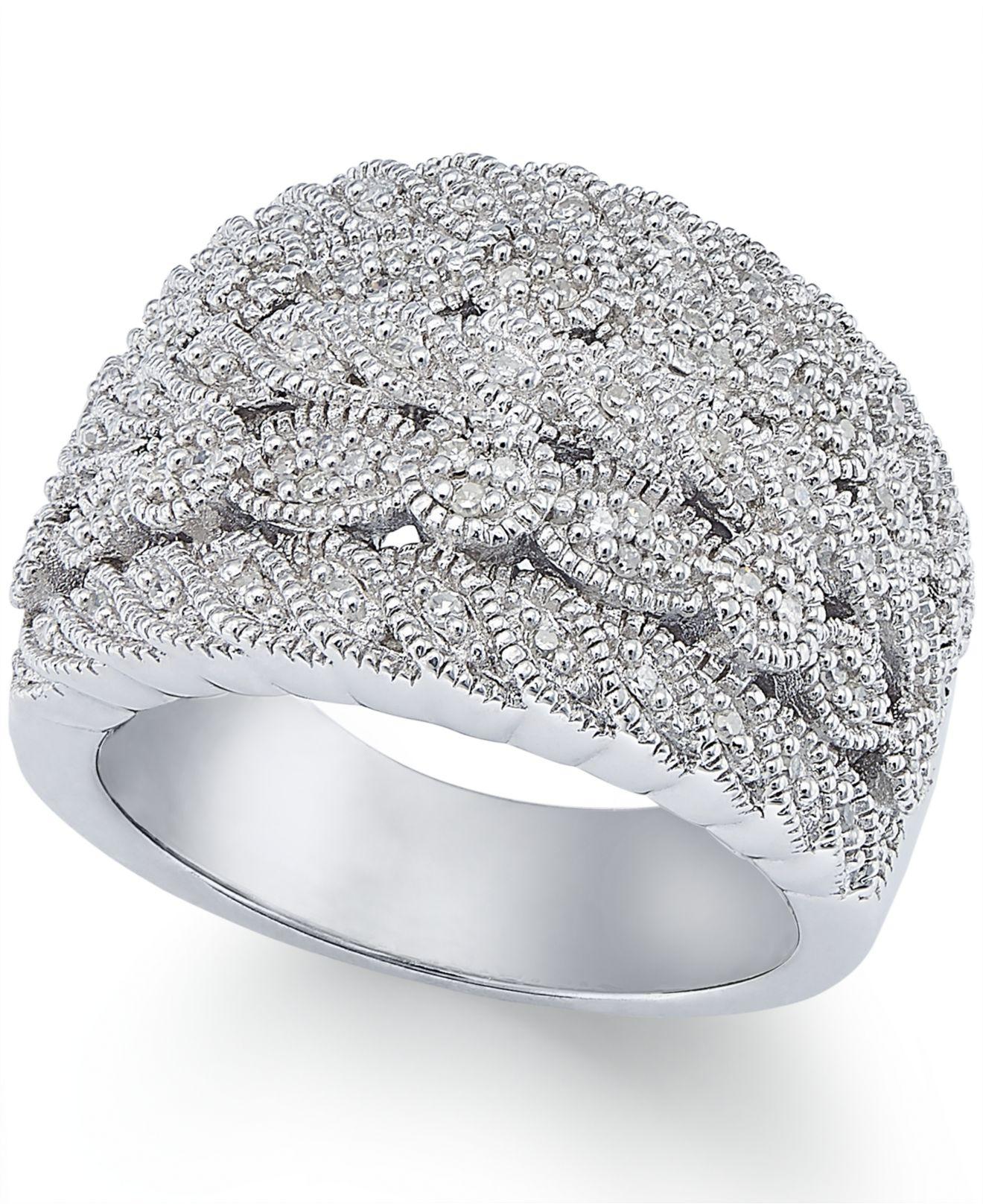 8b0b37386 Lyst - Macy's Diamond Milgrain Ring In Sterling Silver (1/5 Ct. T.w. ...