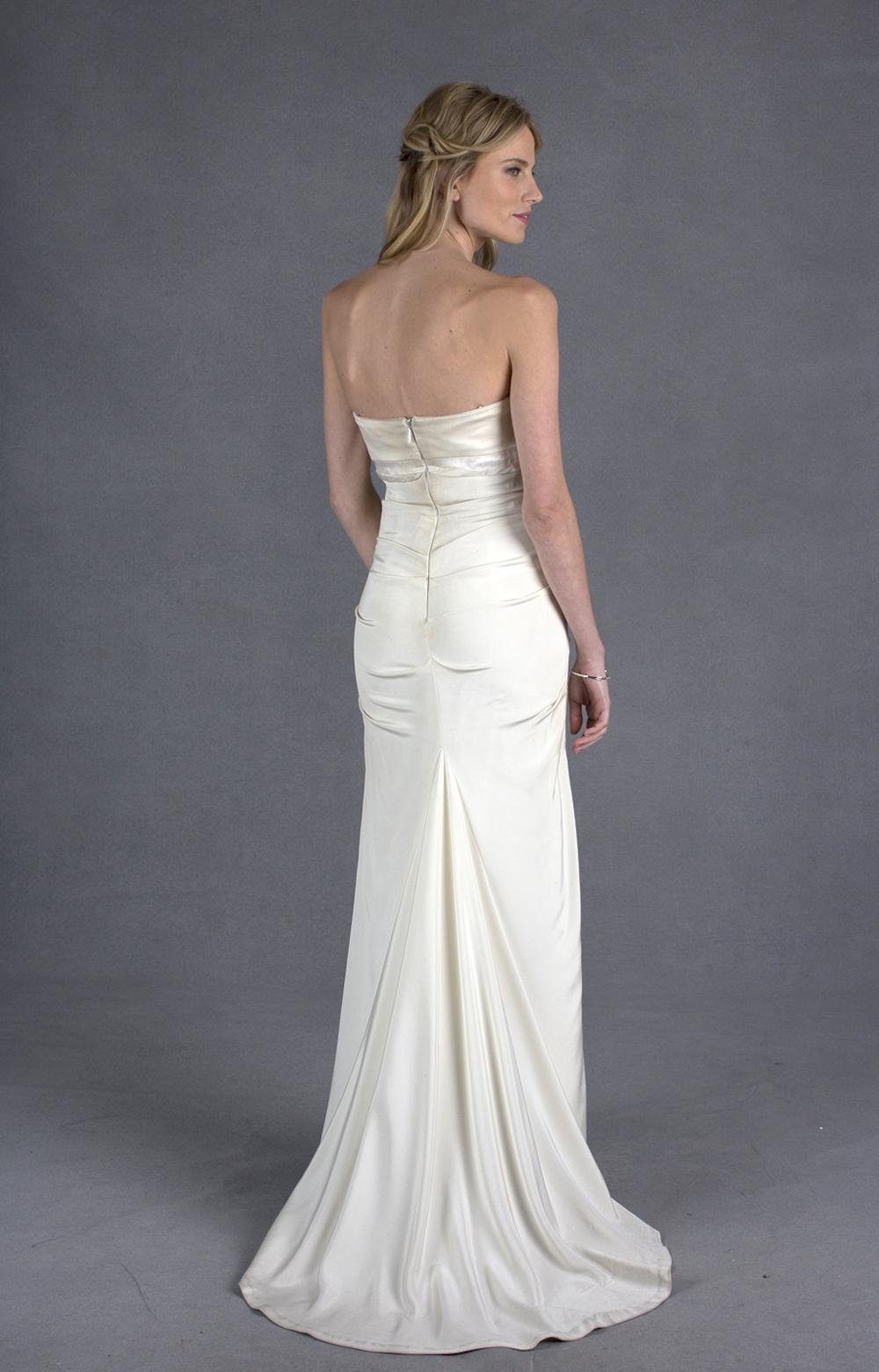 Nicole miller camilla bridal gown in white lyst for Nicole miller strapless wedding dress