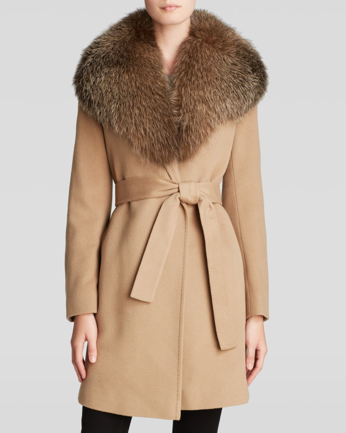 for whole family lowest price order Maximilian Wool Blend Coat With Fox Cape Collar in Camel/Camel ...