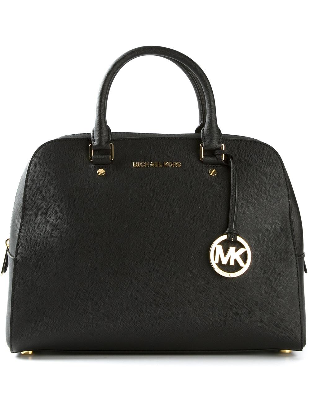 lyst michael kors jet set large travel satchel in black. Black Bedroom Furniture Sets. Home Design Ideas