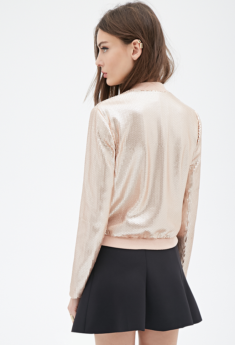 88e3cc09d Forever 21 Pink Sequined Bomber Jacket
