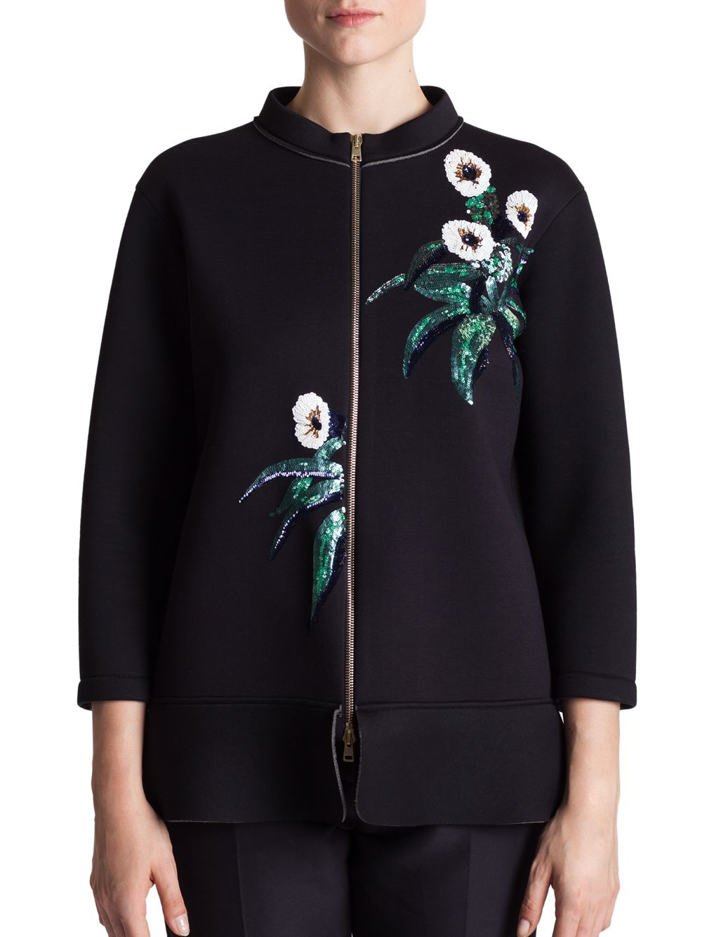 Lyst Marni Bonded Jersey Embroidered Jacket In Black