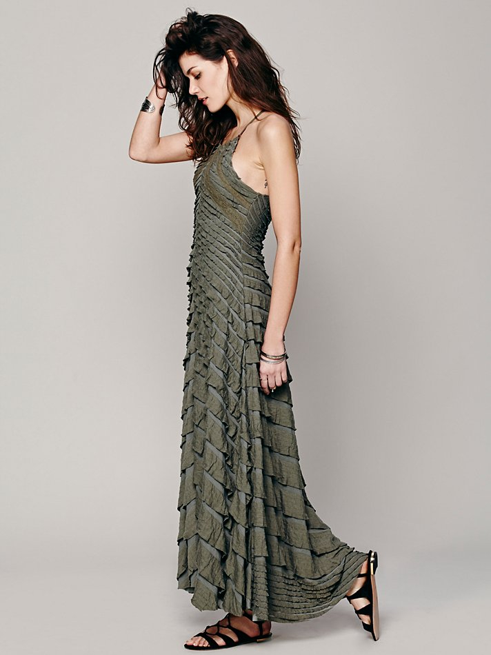 Free people womens fp x cascading waterfall dress in green for Waterfall design dress