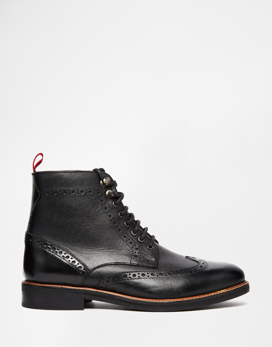 asos brogue boots in black leather with pull tab in