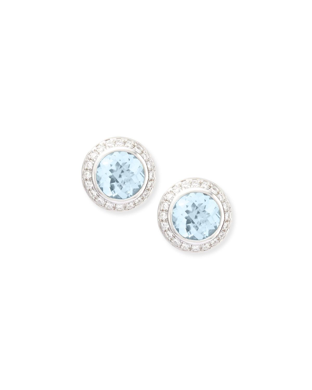 Frederic Sage Aquamarine Diamond Stud Earrings In Blue Lyst