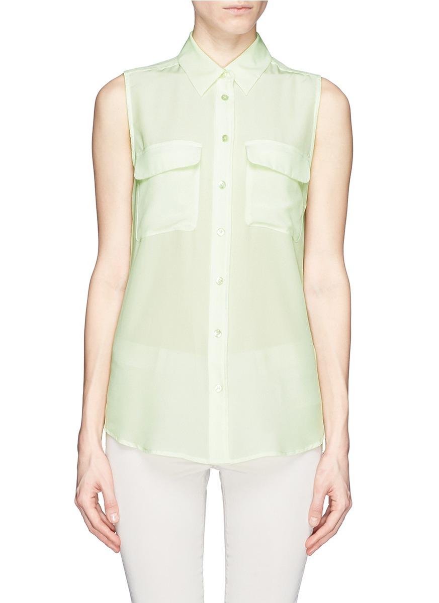 Lyst equipment slim signature sleeveless silk shirt in green for Equipment signature silk shirt