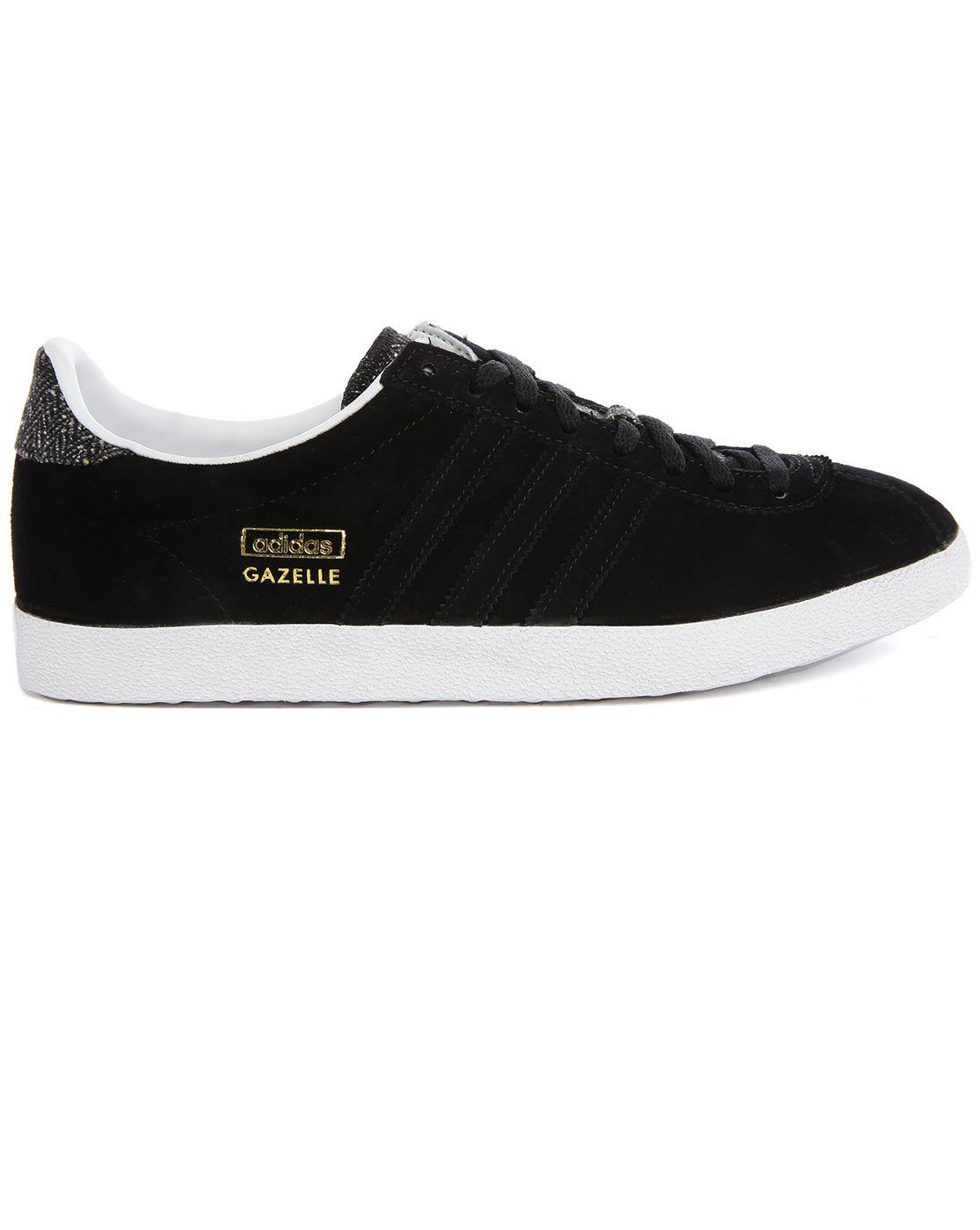 adidas originals gazelle grey chevron black tweed sneakers
