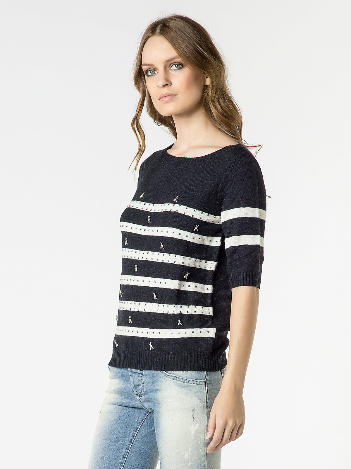 patrizia pepe stripy top with short sleeves in white lyst. Black Bedroom Furniture Sets. Home Design Ideas