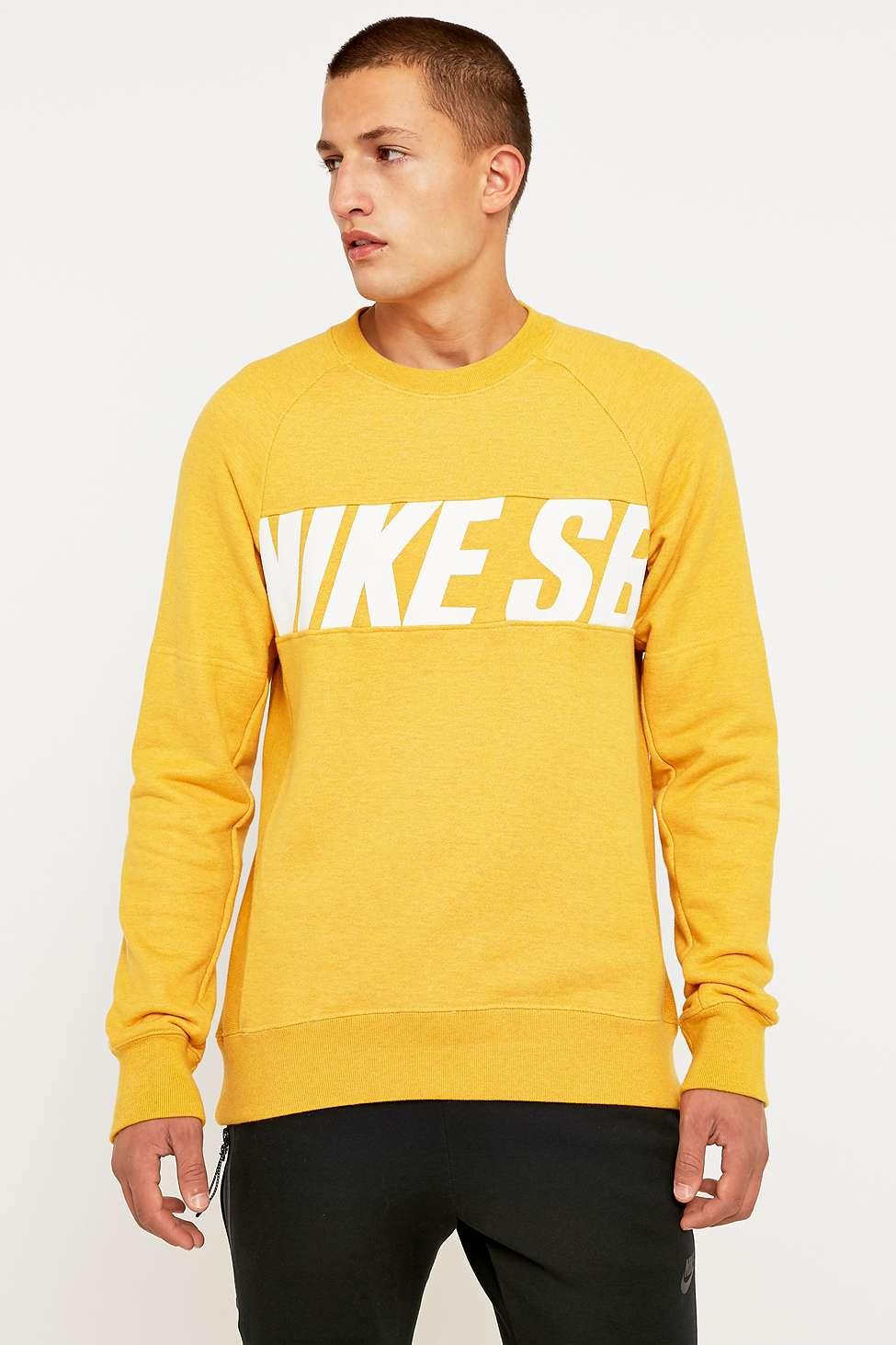 Nike Everett Motion Mustard Crewneck Sweatshirt in Yellow for Men ...