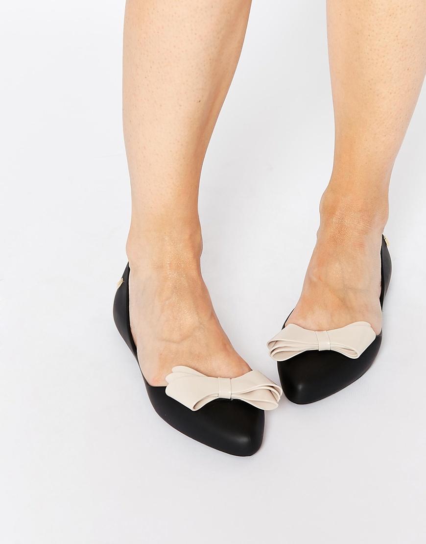 Melissa Trippy Black Bow Flat Shoes - Lyst
