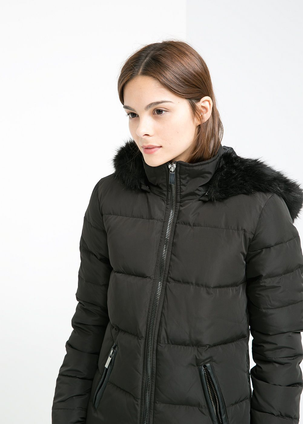 Mango Quilted Feather Down Coat in Black | Lyst
