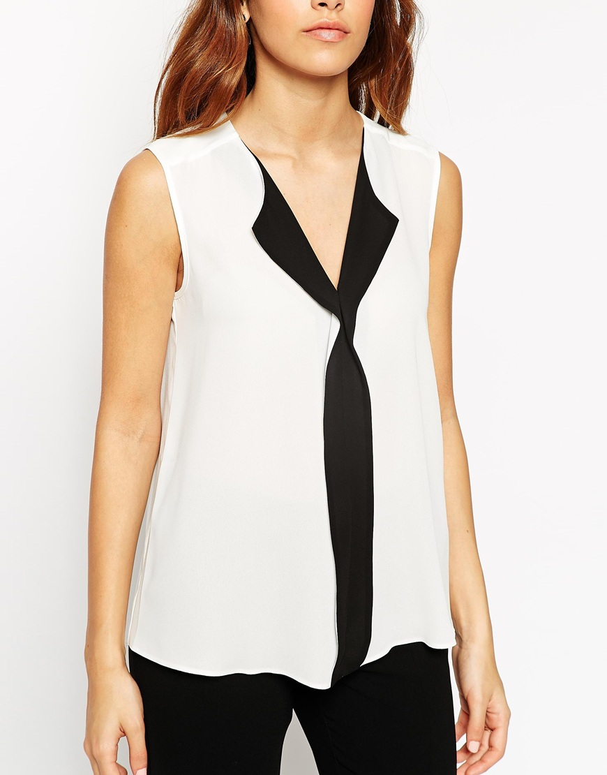 V Neck Sleeveless Blouse - Long Sleeved Blouse