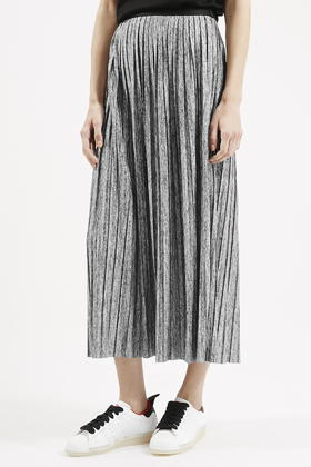 Topshop Pleated Maxi Skirt in Gray | Lyst