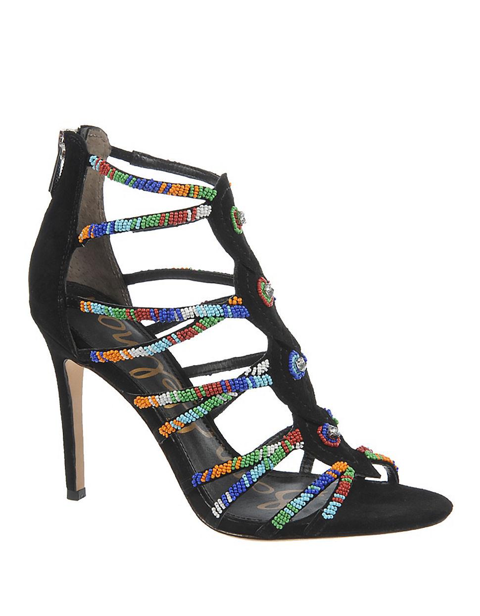 807a66b46 Lyst - Sam Edelman Sage Beaded High-heel Sandals in Black