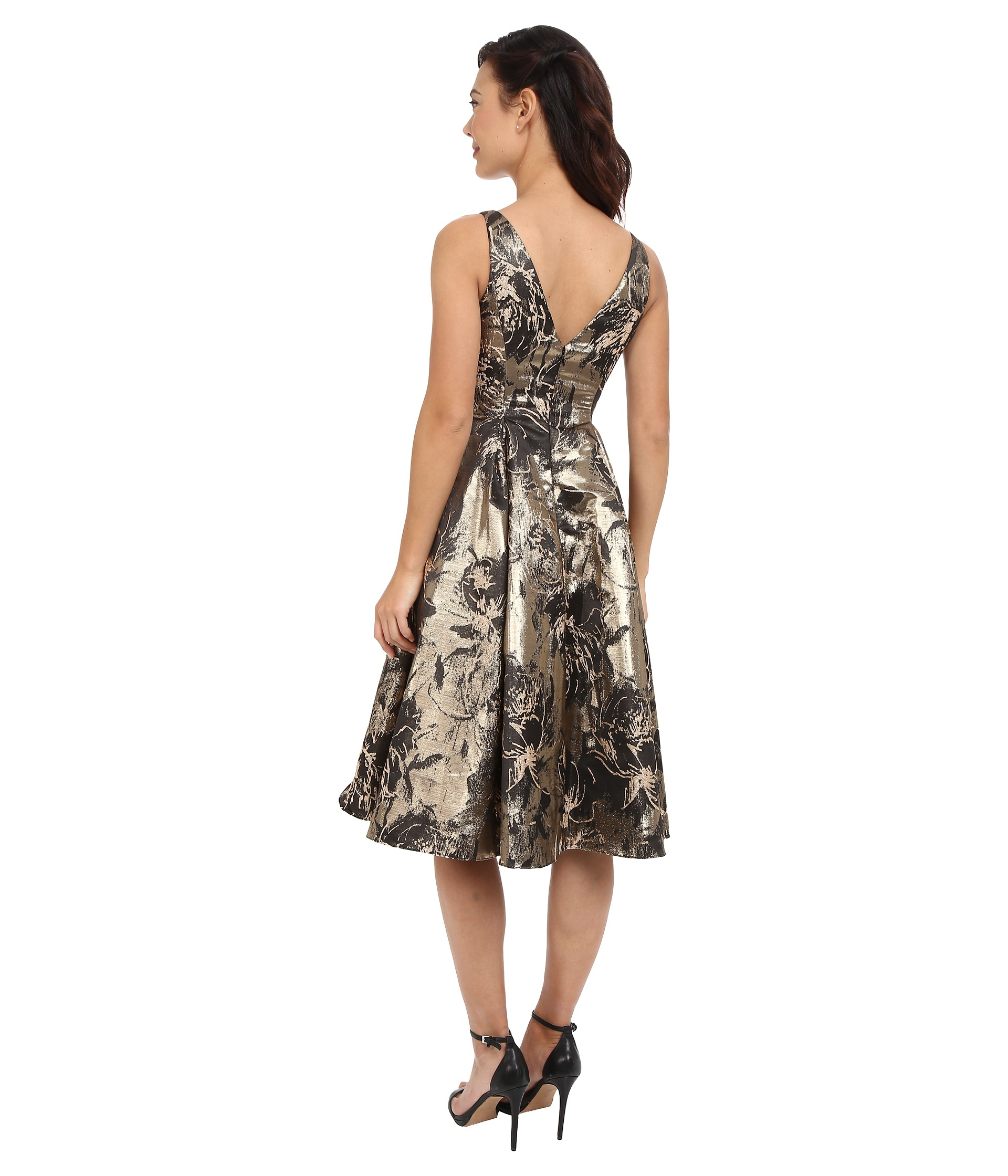 Aidan Mattox Printed Jacquard Tea Length Cocktail Dress In