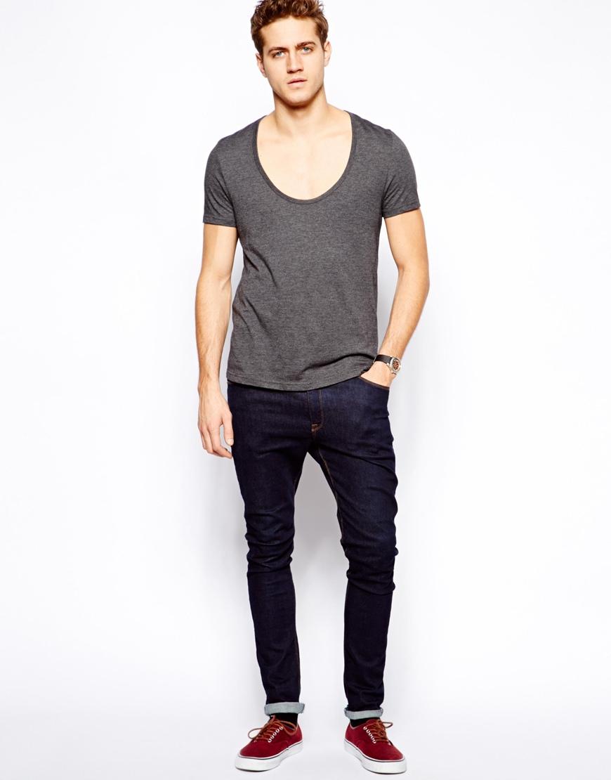 Mens Low Scoop Neck T Shirt Photo Album Best Fashion