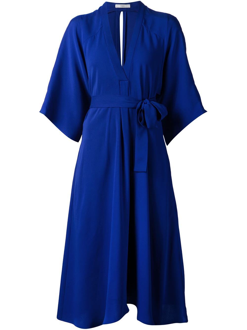 tome flared belted dress in blue lyst