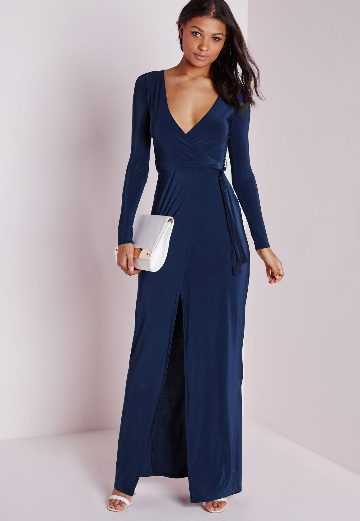 Missguided Slinky Wrap Front Maxi Dress Navy In Blue Lyst